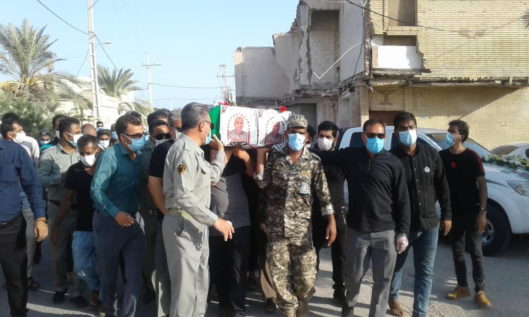 تشیع و تدفین محیط بان شهید در بندر لنگه